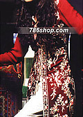 Red/Off-White Crinkle Chiffon Suit- Pakistani Party Wear Dress