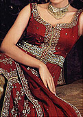 Red/Golden Chiffon Sharara- Pakistani Wedding Dress