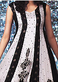 White/Black Chiffon Suit - Pakistani Party Wear Dress