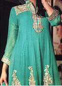 Sea Green Crinkle Chiffon Suit - Pakistani Party Wear Dress
