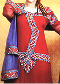 Red/Blue Crinkle Chiffon Suit