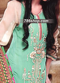 Sea Green/Light Golden Chiffon Suit- Pakistani Party Wear Dress