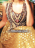 Golden/Red Chiffon Jamawar Suit