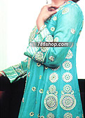 Turquoise Crinkle Chiffon Suit - Pakistani Party Wear Dress