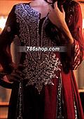 Maroon Crinkle Chiffon Suit- Pakistani Formal Designer Dress