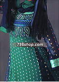 Sea Green/Blue Jamawar Chiffon Suit- Pakistani Party Wear Dress