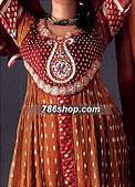 Rust/Red Jamawar Chiffon Suit- Pakistani Party Wear Dress