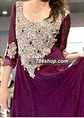Dark Purple Crinkle Chiffon Suit - Pakistani Formal Designer Dress
