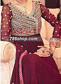 Dark Magenta Crinkle Chiffon Suit  - Pakistani Formal Designer Dress