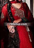 Red Crinkle Chiffon Suit - Pakistani Formal Designer Dress