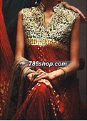 Red Crinkle Chiffon Suit - Pakistani Party Wear Dress