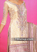 Golden/Hot Pink Chiffon Lehnga- Pakistani Party Wear Dress