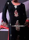 Black Crinkle Chiffon Suit - Pakistani Formal Designer Dress
