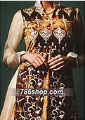 Golden/Brown Crinkle Chiffon Suit- Pakistani Party Wear Dress