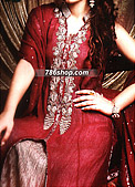Magenta Crinkle Chiffon Suit- Pakistani Party Wear Dress