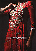 Red Crinkle Chiffon Suit - Indian Designer Clothing