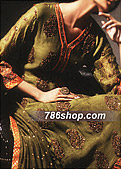 Mehdi Green Silk Suit- Pakistani Party Wear Dress