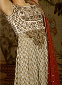 Golden Chiffon Jamawar Suit - Pakistani Party Wear Dress