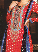 Red Chiffon Jamawar Suit