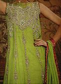 Green Crinkle Chiffon Suit - Pakistani Party Wear Dress