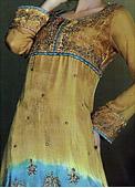 Golden/Turquoise Crinkle Chiffon Suit - Pakistani Party Wear Dress