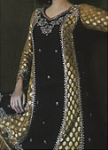 Black/Golden Crinkle Chiffon Suit