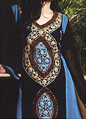 Black/Turquoise Chiffon Suit  - Pakistani Party Wear Dress