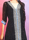 Black Crinkle Chiffon Suit - Pakistani Wedding Dress