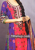 Purple/Shocking Pink Crinkle Chiffon Suit