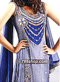 Blue Crinkle Chiffon Suit- Indian Designer Dress