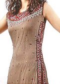 Fawn/Red Crinkle Chiffon Suit- Indian Designer Clothing