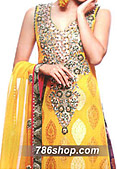 Yellow/Purple Chiffon Jamawar Suit- Pakistani Party Wear Dress