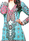 Turquoise/Purple Crinkle Chiffon Suit - Pakistani Formal Designer Dress