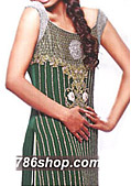 Dark Green Crinkle Chiffon Suit- Indian Designer Clothing