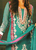 Sea Green Crinkle Chiffon Suit - Pakistani Formal Designer Dress