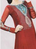 Red Crinkle Chiffon Suit- Pakistani Formal Designer Dress