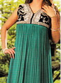 Sea Green/Black Crinkle Chiffon Suit- Pakistani Formal Designer Dress
