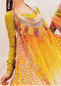 Yellow Crinkle Chiffon Suit- Pakistani Party Wear Dress