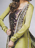 Light Green Crinkle Chiffon Suit - Pakistani Formal Designer Dress