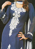 Blue Crinkle Chiffon Suit- Pakistani Party Wear Dress