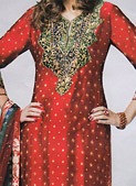Red Silk Suit- Pakistani Party Wear Dress