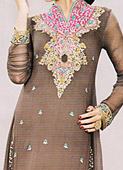 Brown Crinkle Chiffon Suit- Pakistani Formal Designer Dress