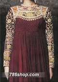 Maroon Crinkle Chiffon Suit- Pakistani Formal Designer Dress