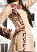 Beige Crinkle Chiffon Suit- Pakistani Formal Designer Dress