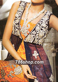 Orange/Purple Trouser Suit- Pakistani Party Wear Dress