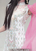 White/Pink Crinkle Chiffon Suit - Pakistani Formal Designer Dress