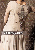 Beige Crinkle Chiffon Suit  - Pakistani Formal Designer Dress