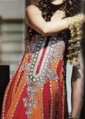Orange/Red Crinkle Chiffon Suit - Pakistani Formal Designer Dress