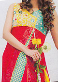 Yellow/Red Jamawar Chiffon Suit- Pakistani Party Wear Dress