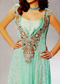 Sea Green Jamawar Chiffon Suit- Pakistani Formal Designer Dress